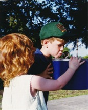 Children (Matt & Katie Duranceau) drinking at a fountain in Winter Park FL