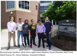 Research team members: (from left to right) James Moulton, Kunal Olimattel, Hadi Toure, Daniel Garcia, Dr. Anwar Sadmani, Amirsalar Esfahani