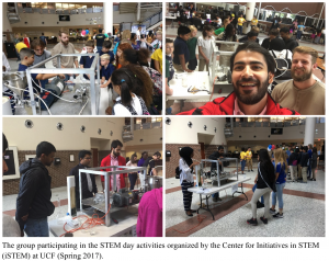 The group participating in the STEM day activities organized by the Center for Initiatives in STEM (iSTEM) at UCF (Spring 2017).
