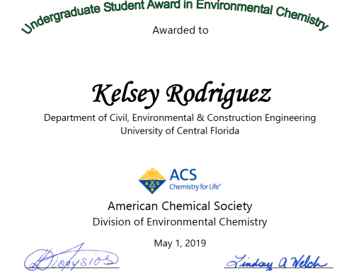 Kelsey Rodriguez, received an American Chemical Society 2019 Undergraduate Award